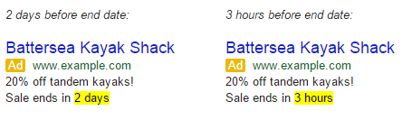 Google Adwords Countdown Adverts Test